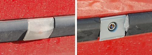 Renault Clio side trim before and after damage
