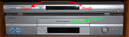 Eject Buttons on Toshiba DVD and on Sony VCR