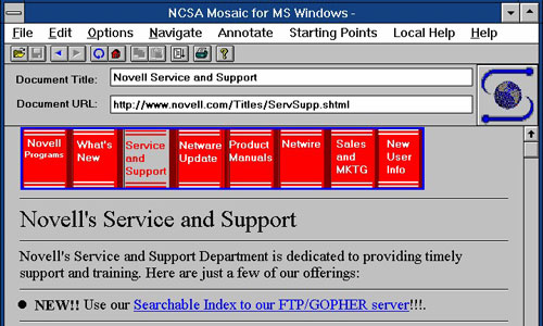 NCSA Mosaic browser, 1995