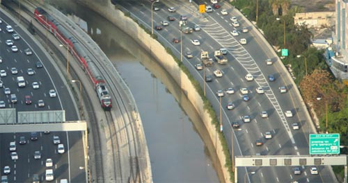 Ayalon Highway in Tel Aviv