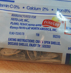 Frito-Lay Sunflower Seeds instructions
