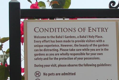 Bahai Gardens sign