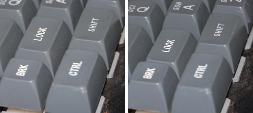 Two-position Caps Lock in a 1970s keyboard