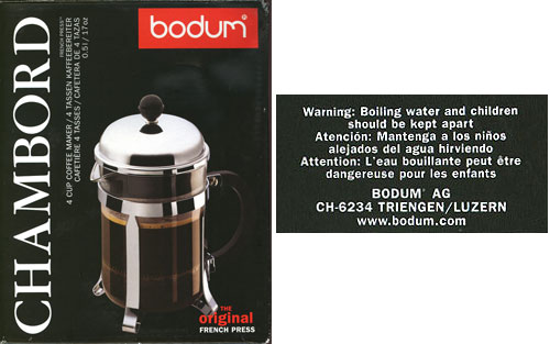 Bodum coffee press warning notice
