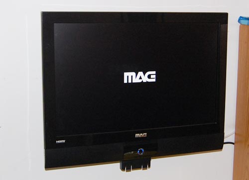 MAG LCD TV with logo on screen