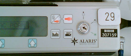 Switch on Alaris pump controller
