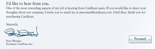 CardScan welcome dialog