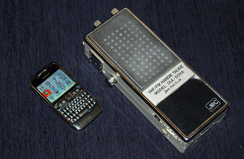 Nokia E71 smartphone and JRC VHF transceiver