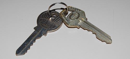 Two cylinder lock keys