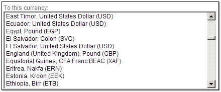 List Box of currencies