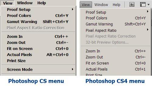Photoshop CS and CS4 Menus