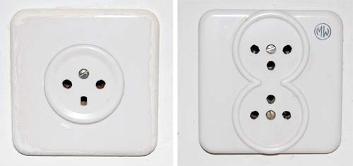 Single and Double 220V mains sockets
