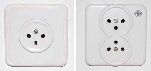 Single and Double 220V mains sockets