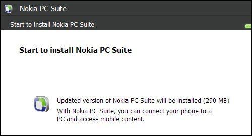 Nokia PC Suite Installation Dialog