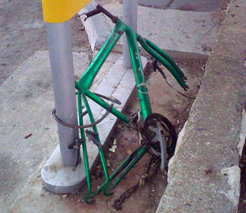 Chained Bike Skeleton