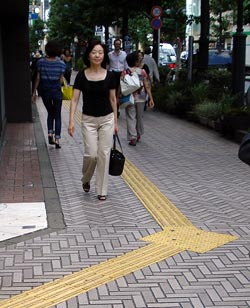 Tactile Sidewalk Strip in Shibuya, Tokyo