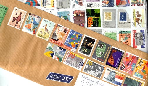 Postage stamps on envelopes