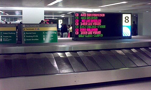 Baggage claim sign at Newark