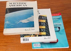Scientific American issues from 1969, 1983 and 2009