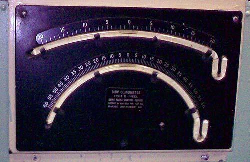 Ship clinometer on submarine USS Growler