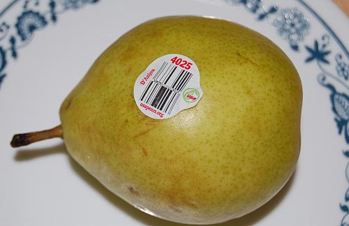 Barcoded pear