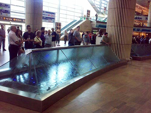 The water barrier at the Ben Gurion International Airport arrivals hall