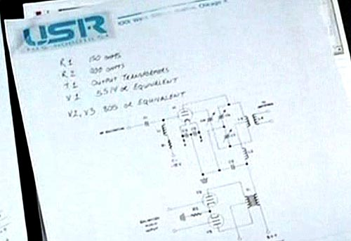 Triode tubes in a US Robotics schematic - as seen in the I, Robot movie