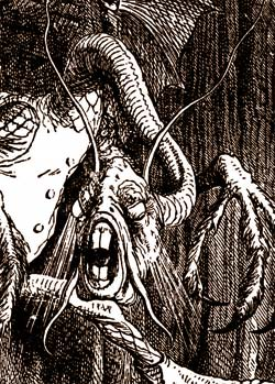 The Jabberwock's head, detail from John Tenniel's illustration