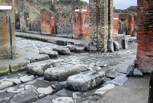 Pedestrian crossings at Pompeii