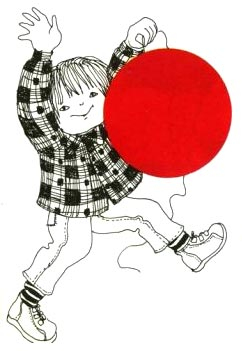 Red Balloon illustration by Ora Ayal