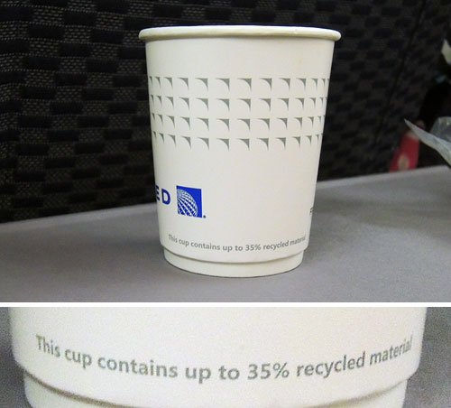 Paper cup on United Airlines